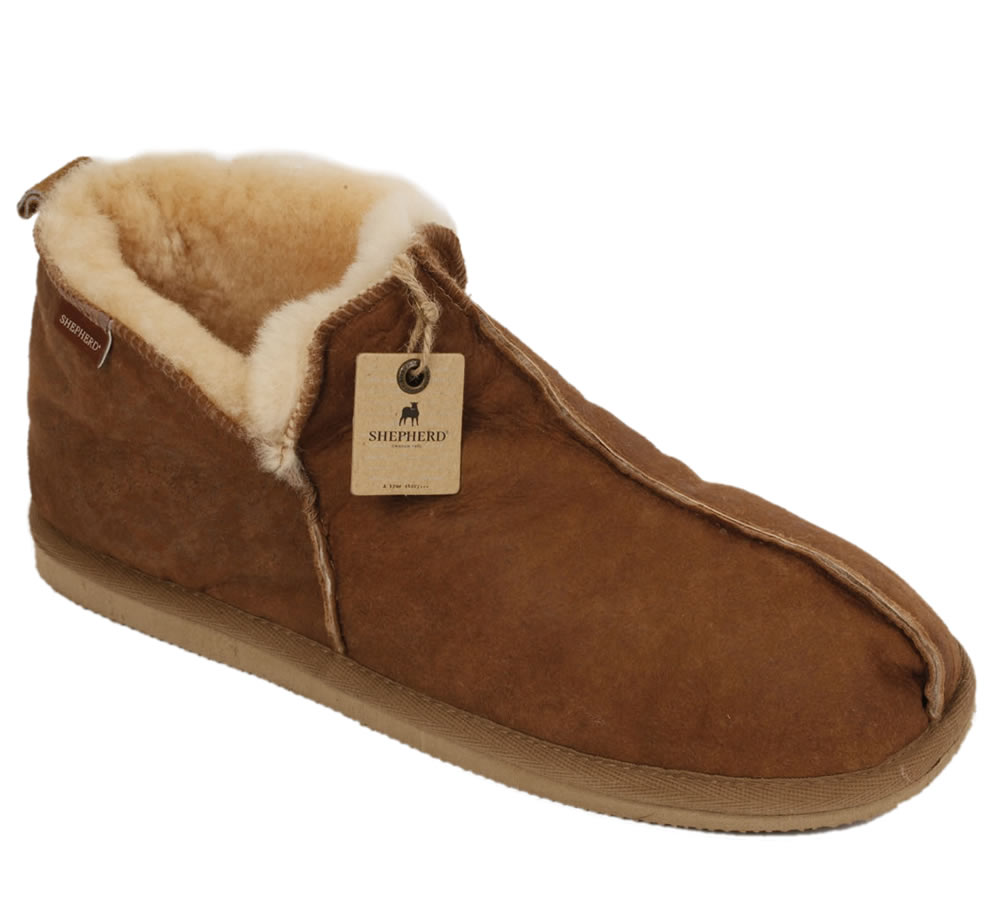 Shepherd Anton Men 39 S Boot Style Antique Leather Sheepskin Slipper From Si