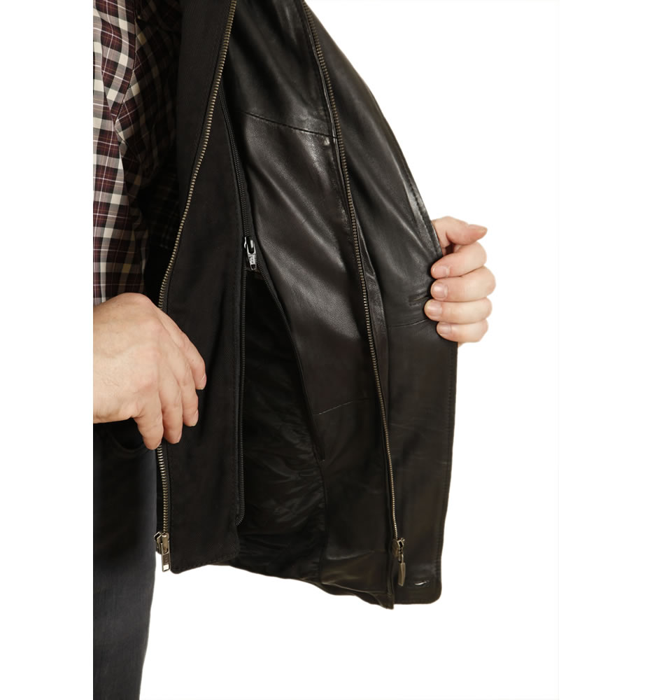 sl12561 mens black nappa 34 leather coat with zip out collar
