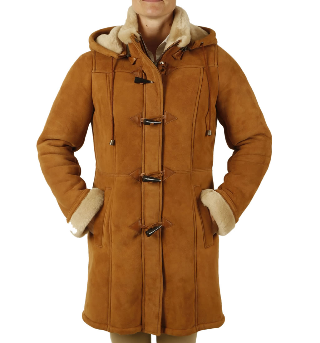 Ladies Suede Finish Sheepskin Duffle Coat from Simons Leather