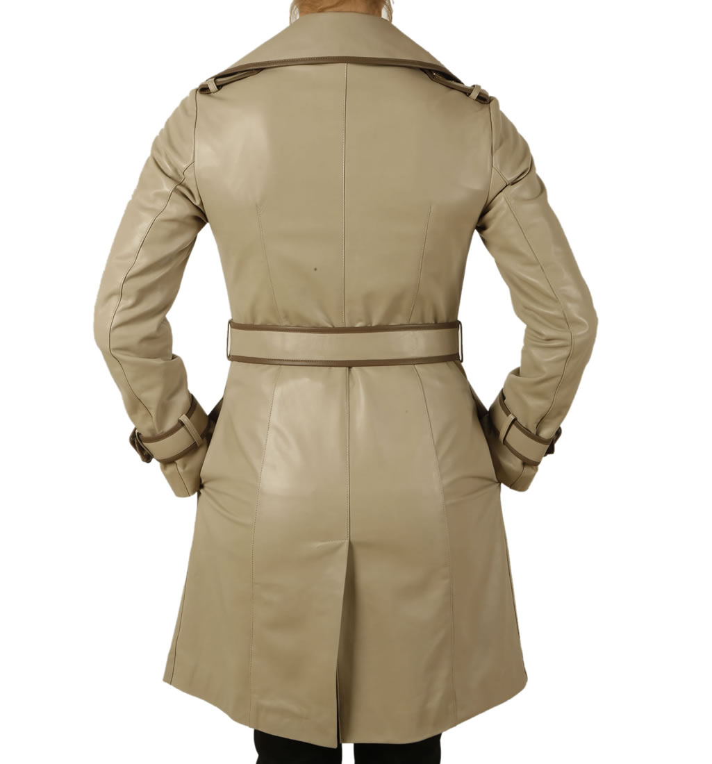 ladies designer two colour leather trench coat from simons