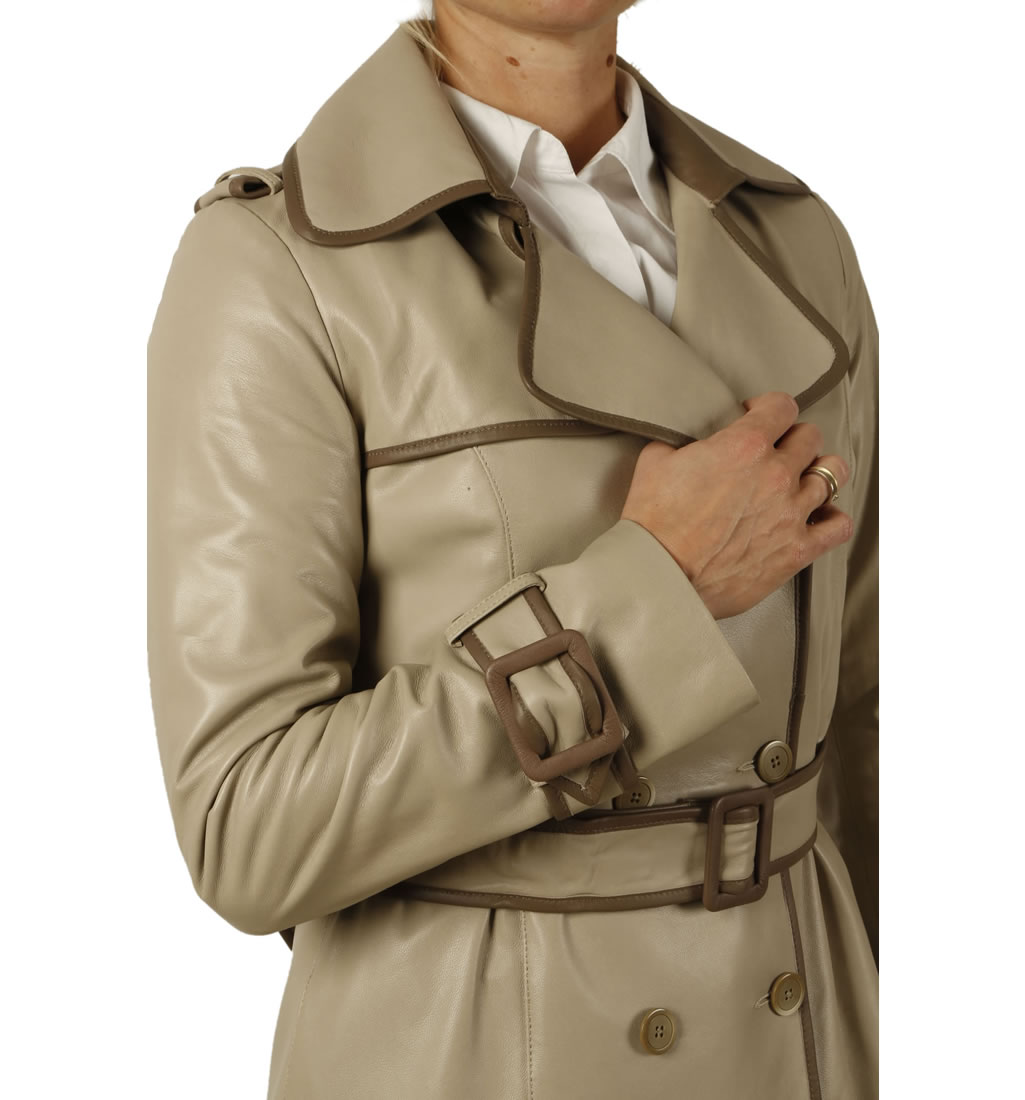 Designer Coats Uk | Ladies Designer Two Colour Leather Trench Coat From Simons Leather