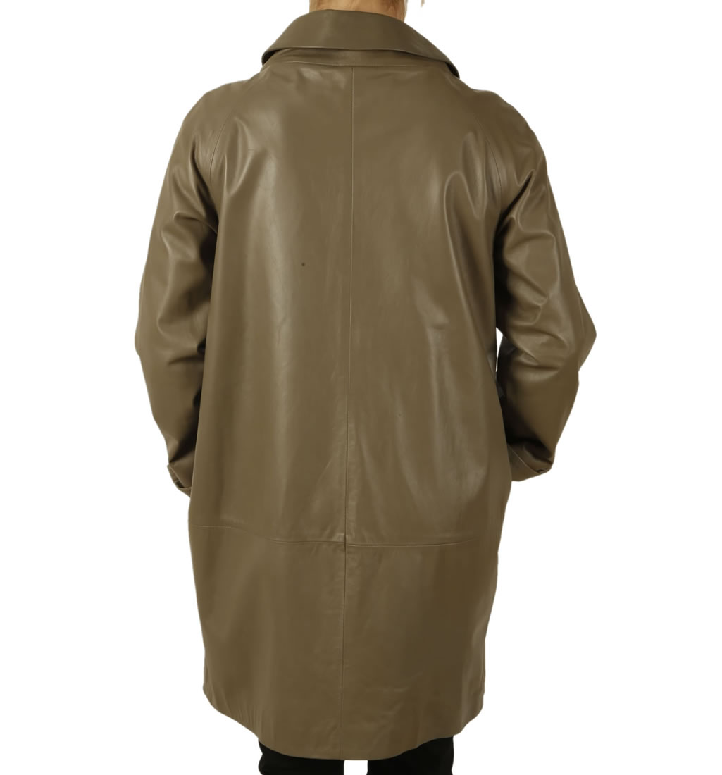 ladies designer shift style leather coat from simons leather
