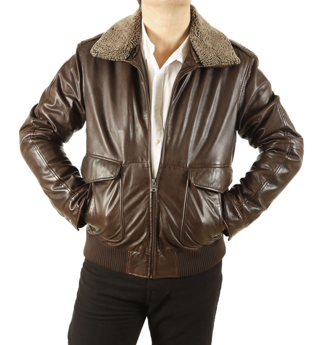 Mens Premium Quality Brown Leather Flight Jacket from Simons Leather