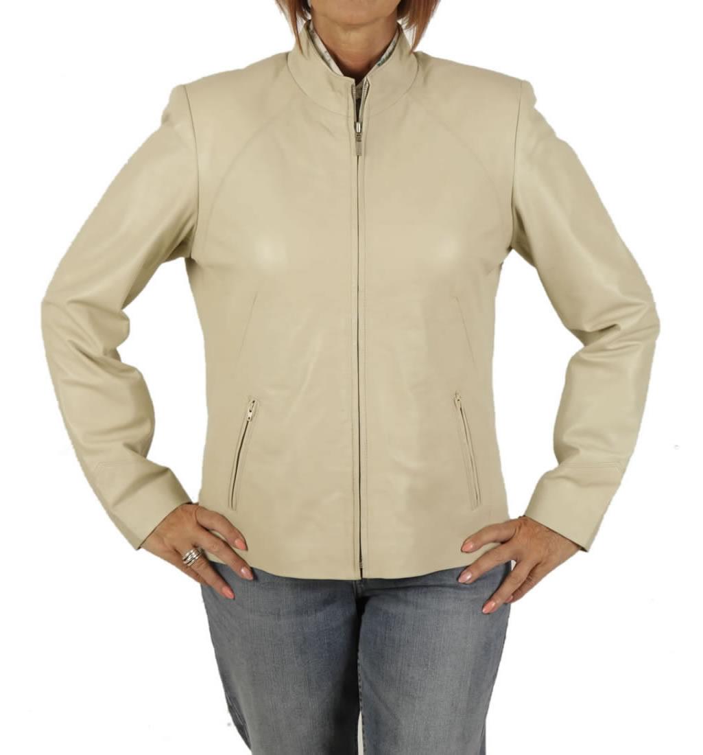 Leather jacket mandarin collar