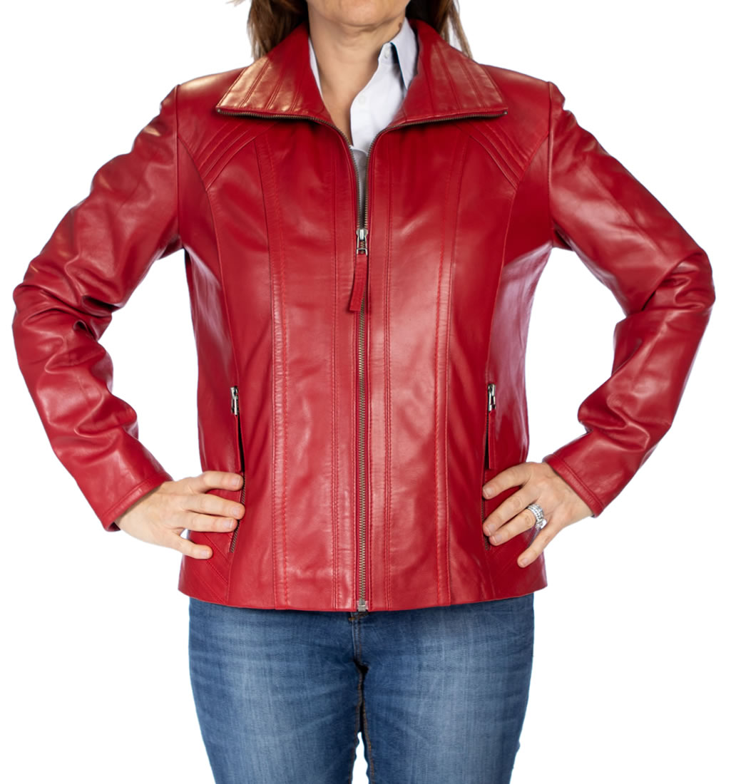 a7f4185be013fa Ladies Detailed Semi Fitted Red Leather Zip Jacket from Simons Leather