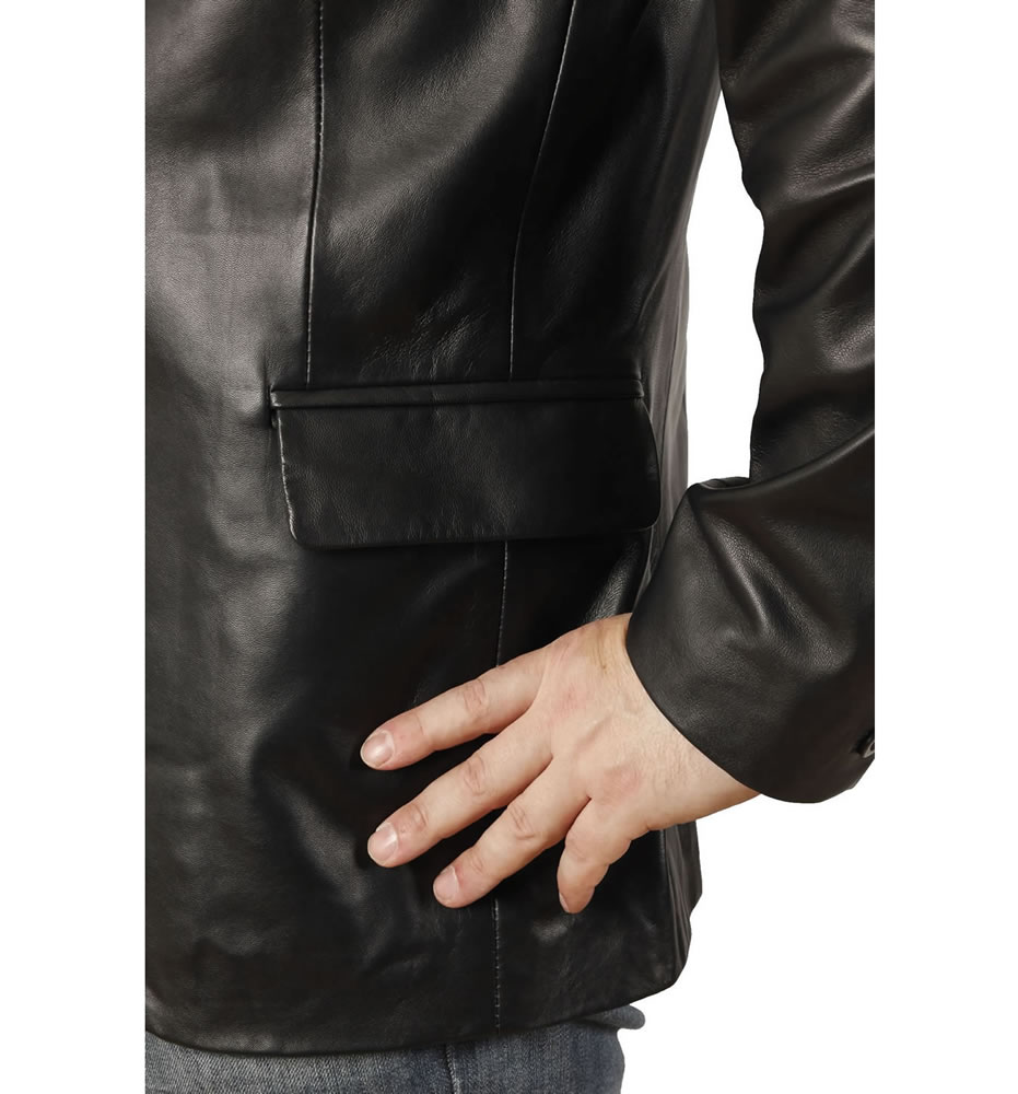 b49573bd895 Semi-Fitted Mens Black Leather Blazer from Simons Leather