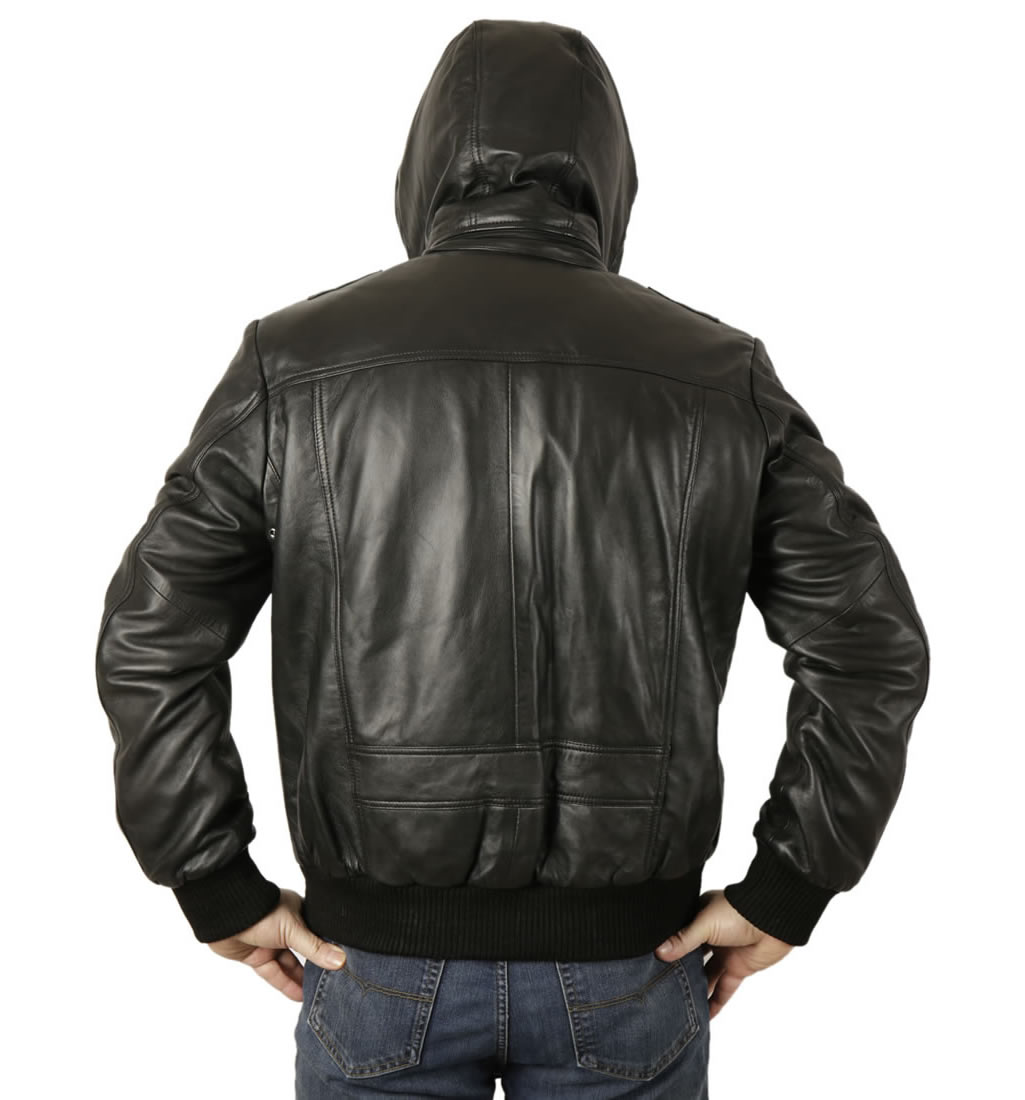 Mens leather bomber jacket with hood