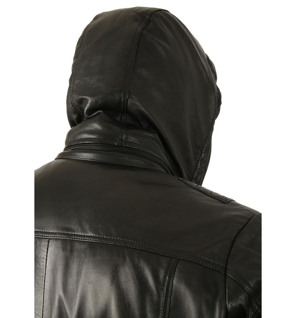 Hooded leather jacket for men