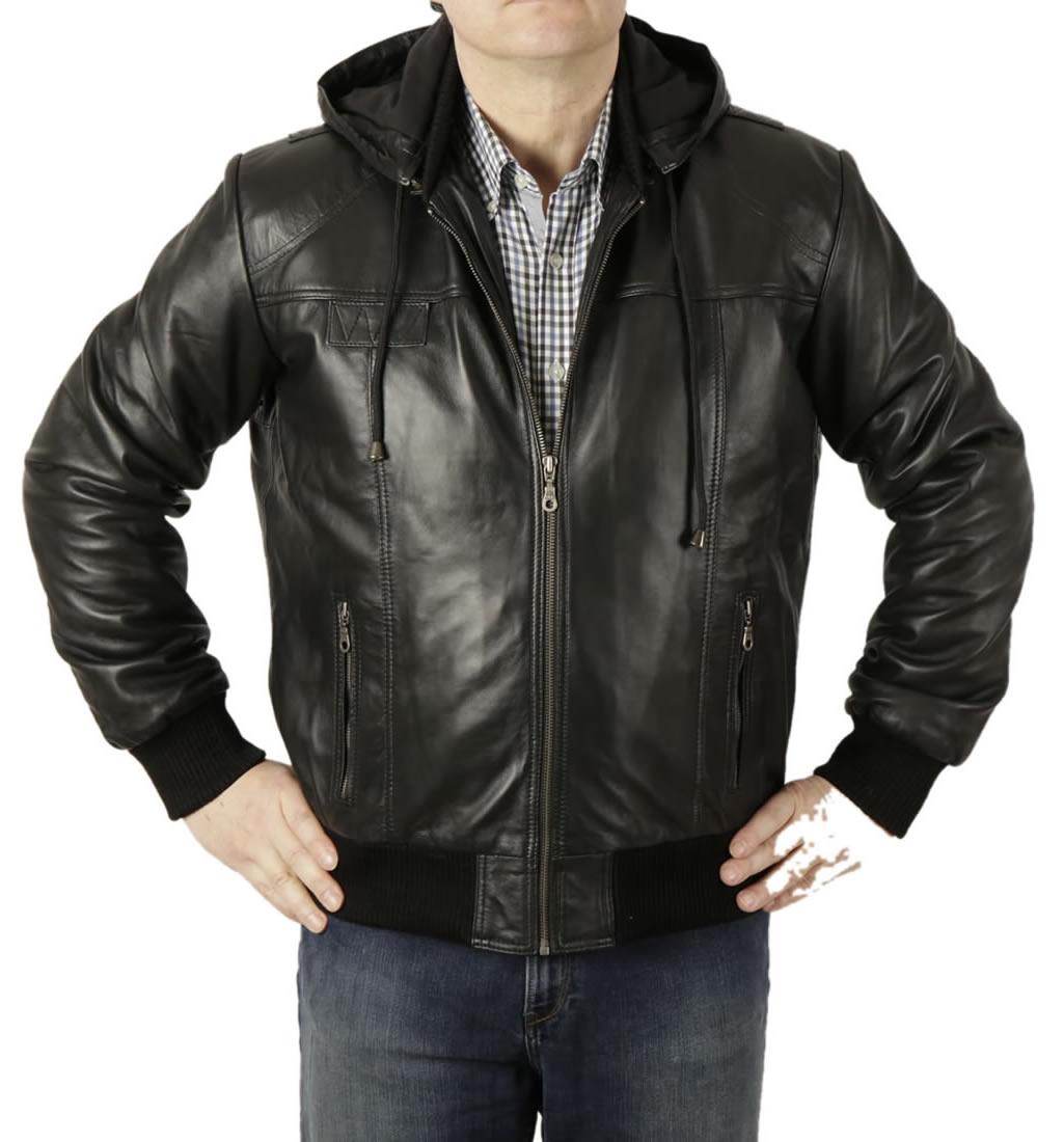Mens hooded leather bomber jacket
