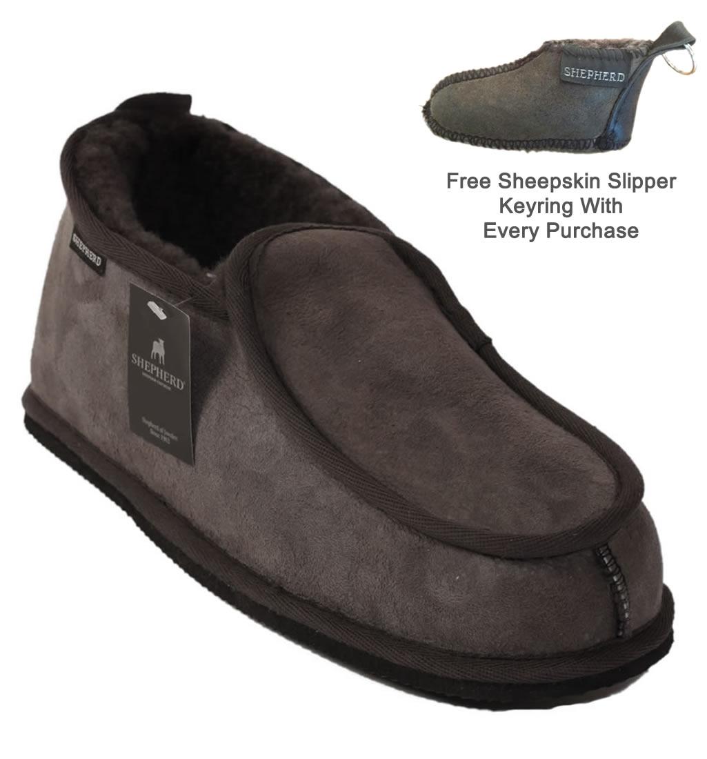 Mens sheepskin gloves uk -  Sl6013 Shepherd Arne Classic Mens Sheepskin Slipper In Grey