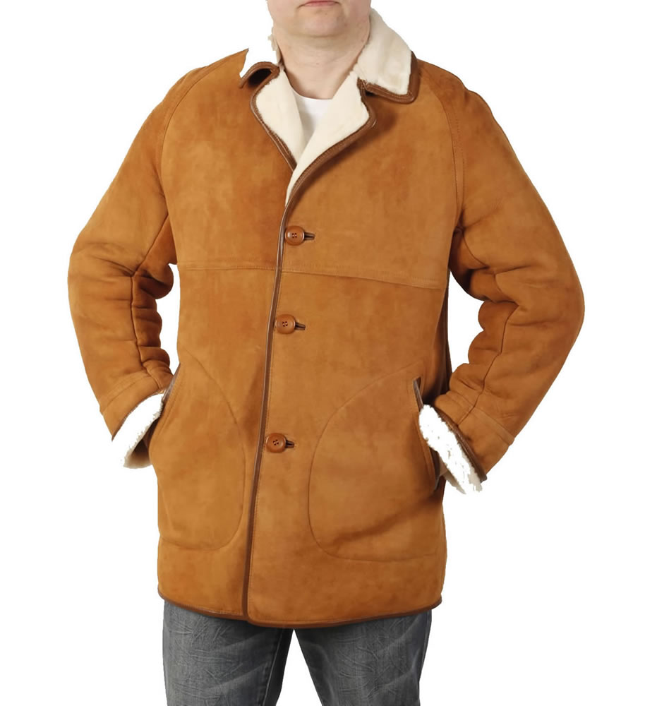 Mens Classic Sheepskin Coat In Tan from Simons Leather