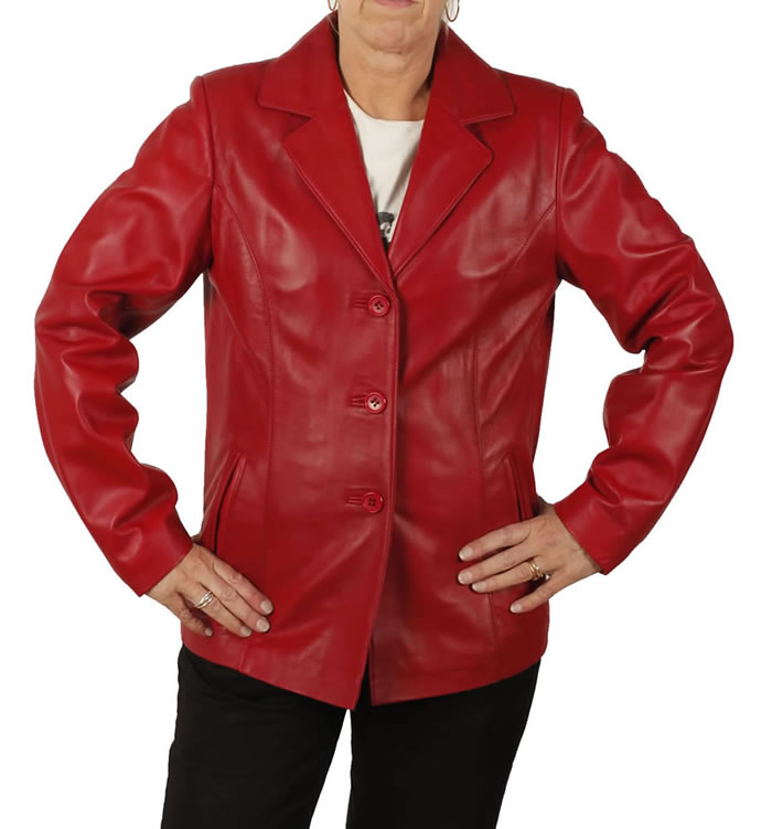 Hip Length Ladies Red Leather Blazer - SL11451