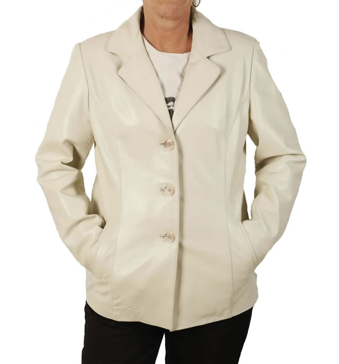 Hip Length Ladies Ivory Leather Blazer - SL11453