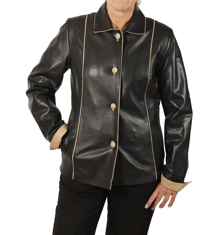 Semi Fitted Black Leather Jacket With Contrast Detail - SL11522