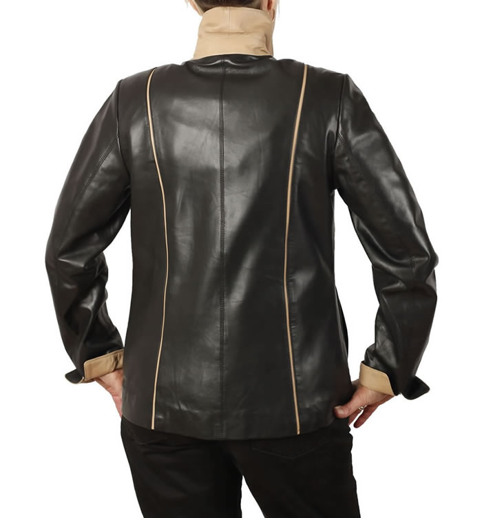 SL11522 - Semi Fitted Black Leather Jacket With Contrast Detail