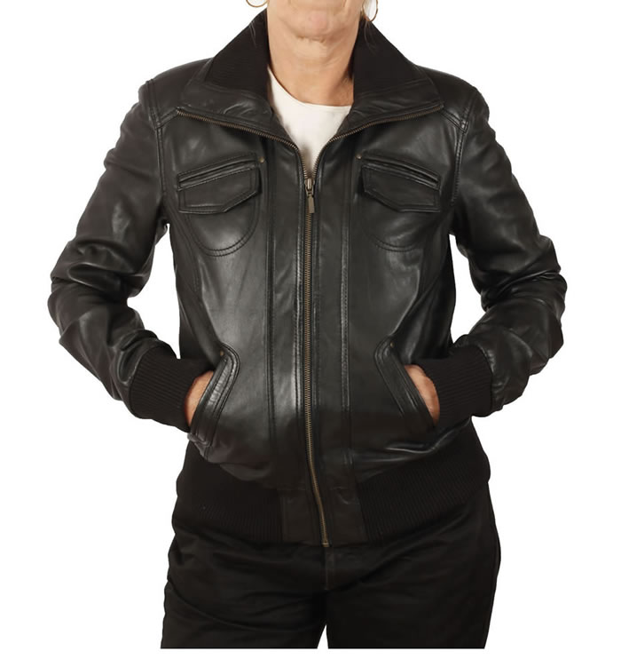 Hip Length Black Leather Ladies Bomber Jacket - SL13171
