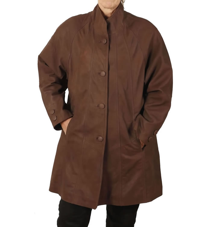 "3/4 Length ""Coco Buff"" Leather 'Swing"" Coat - SL11062"