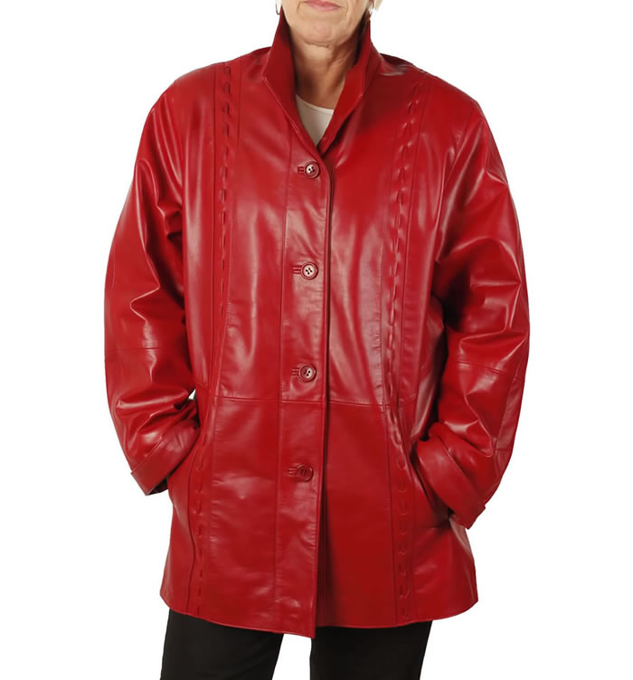 Ladies 3/4 Red Leather Jacket With Inlaid Detail - SL13411