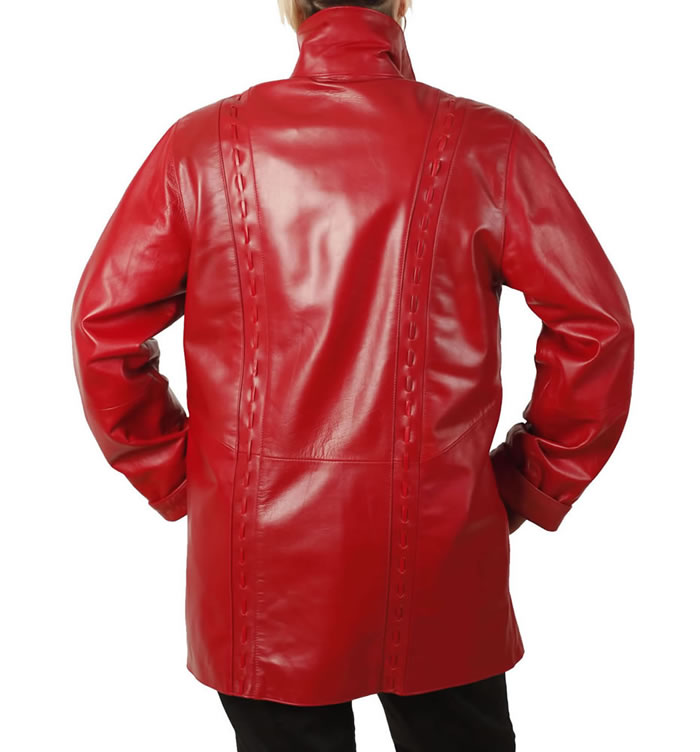 ladies red leather jacket - photo #11