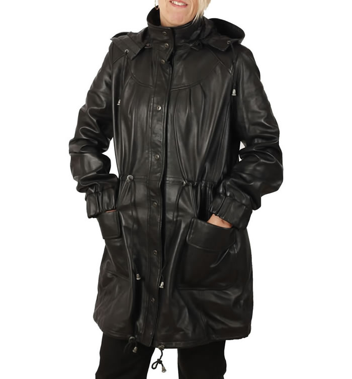 Ladies 3/4 Black Leather Hooded  Parka - SL11913