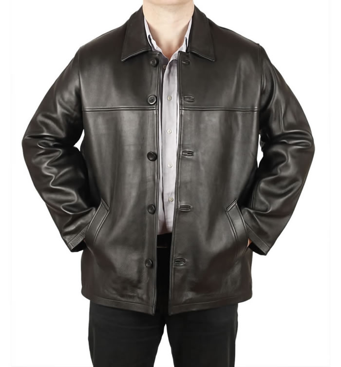 Mens Black Hide Leather Box Jacket - SL11181