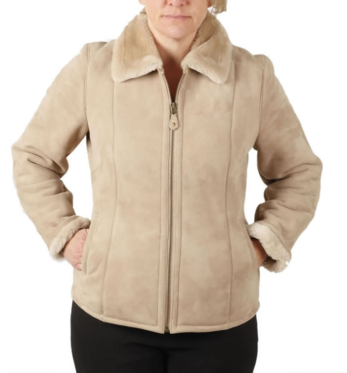 Ladies Zip Up Sheepskin Jacket - SL12601
