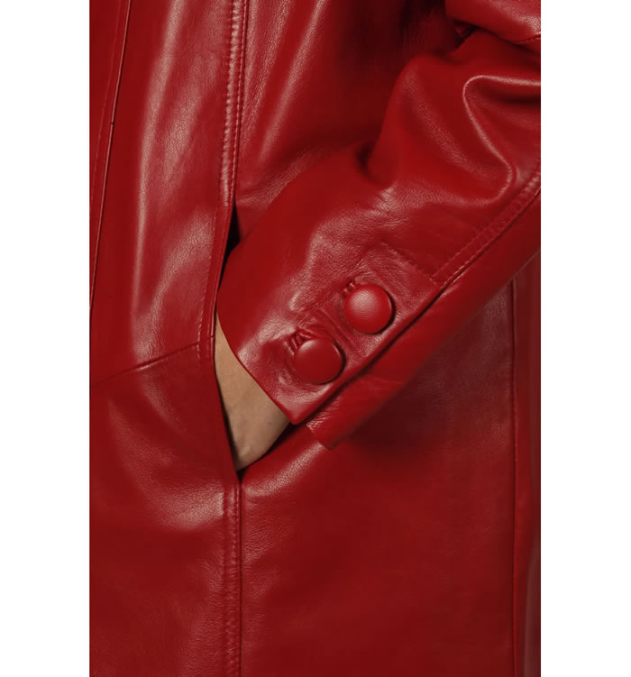 SL11061 - 3/4 Length Red Leather 'Swing' Coat