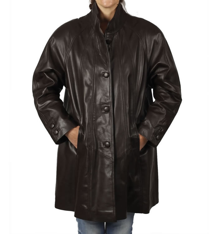 3/4 Length Brown Leather 'Swing' Coat - SL11063
