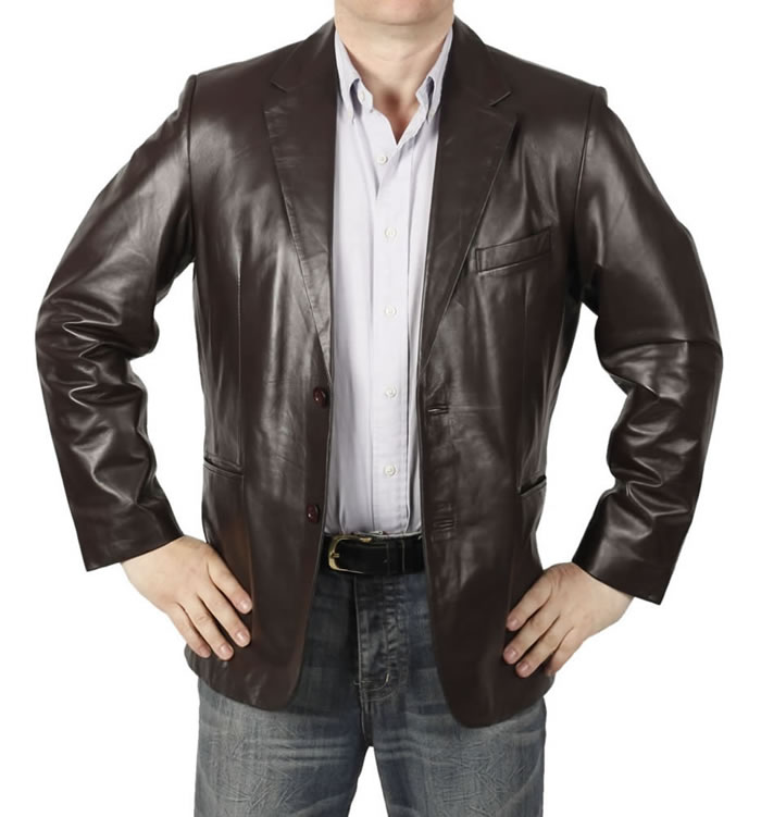 Semi-Fitted Mens Brown Leather  Blazer - SL10032