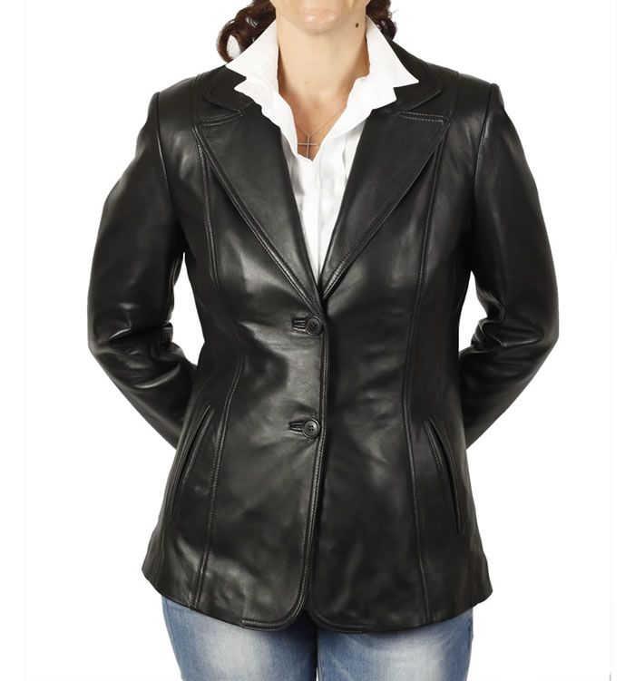 Hip Length And Shaped Ladies Black Leather Blazer - SL11454