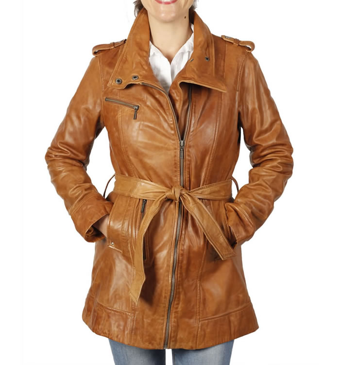 Ladies Cross-Zip  3/4 Antique Tan Leather Trench - SL11755