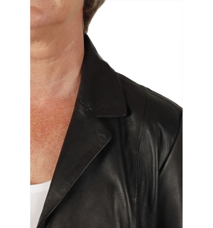 SL11465 - Ladies Semi-Fitted Style 3/4 Black Leather Jacket