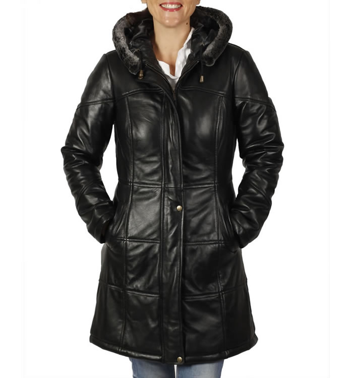 Ladies Long Length  Leather Fitted Puffa Jacket - SL133553