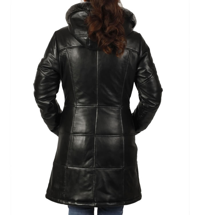 SL133553 - Ladies Long Length  Leather Fitted Puffa Jacket