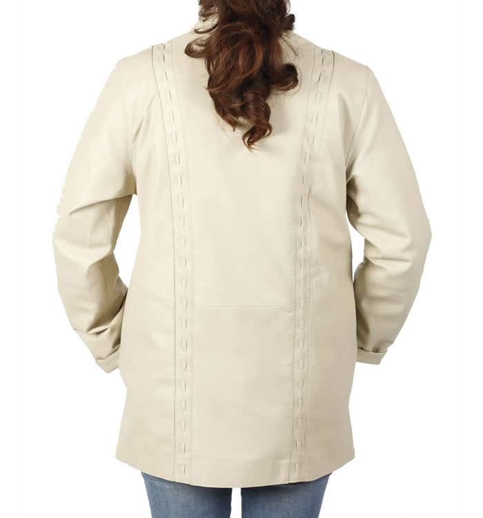 SL1341 - 3/4 Ivory Leather Jacket With Inlaid Detail