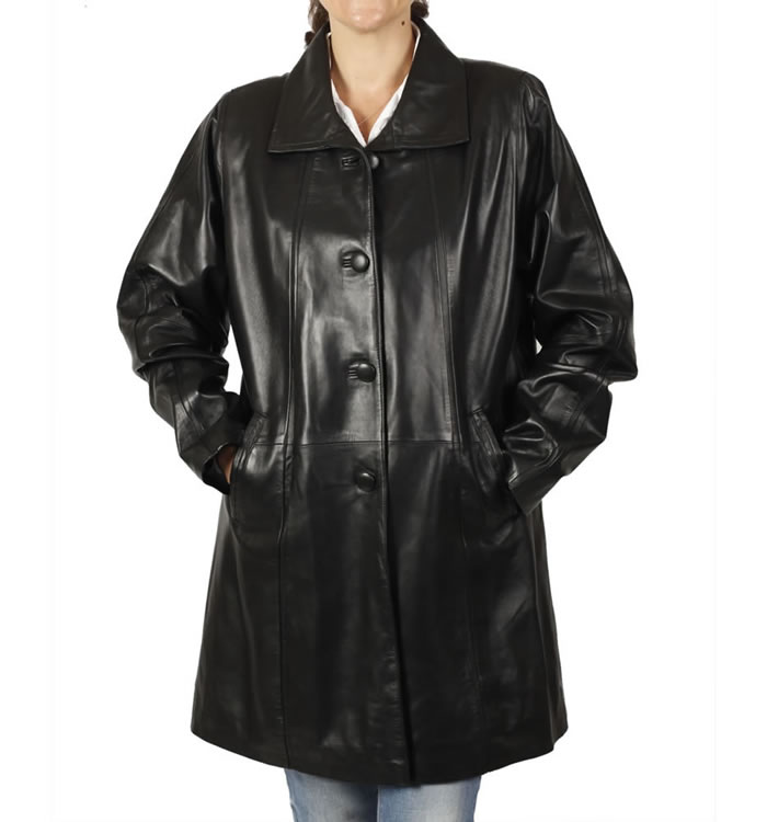 Ladies Knee Length A-Line Black Leather Coat - SL114621