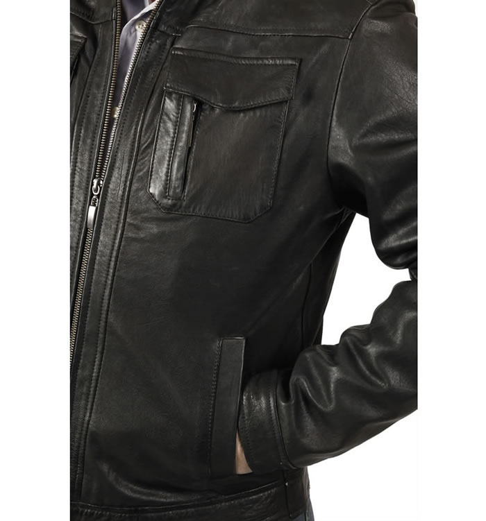 SL10122 - Black Leather Pocketed Biker Jacket