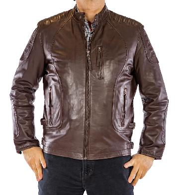 SL101221 - Brown Leather Easy Fit Biker Jacket