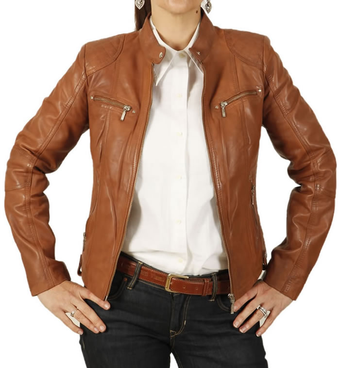 Ladies Tan Leather Biker Jacket With Quilting Detail - SL118011