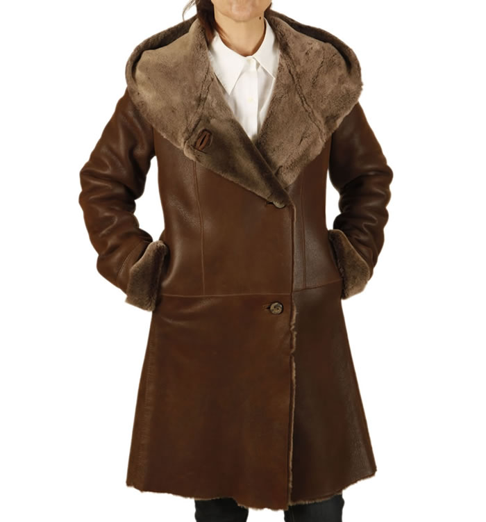 Ladies 3/4 Length Lambskin Coat With Caped Shawl Collar - SL11571