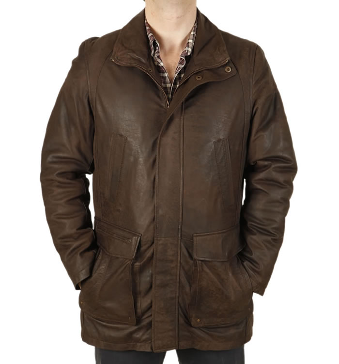"Gents 3/4 Length Khaki ""Buff"" Leather Coat - SL11035"