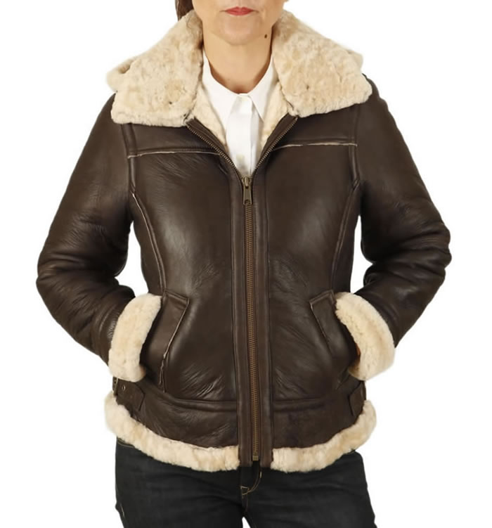 Ladies Hooded Shaped Sheepskin Flying Jacket - SL11593