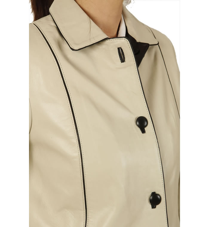 SL115221 - Semi Fitted Ivory Leather Jacket With Contrast Detail
