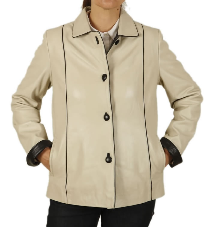 Semi Fitted Ivory Leather Jacket With Contrast Detail - SL115221