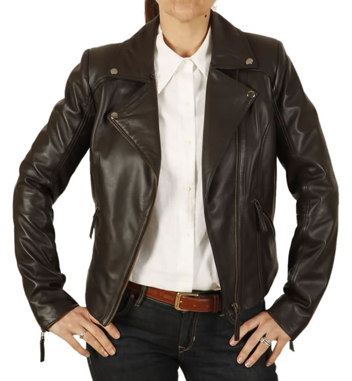 ladies red leather biker jacket with quilting detail from