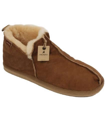 Shepherd Anton Men's Boot Style Antique Leather Sheepskin Slipper - SL61211L