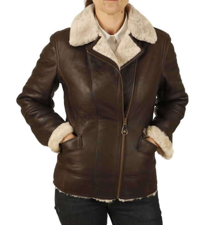Ladies Cross-Over Longer Length Sheepskin Aviator Jacket - SL11594