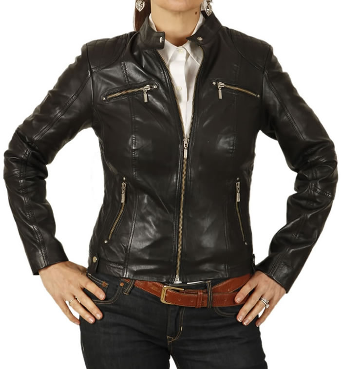 Ladies Black Leather Biker Jacket With Quilting Detail - SL118012