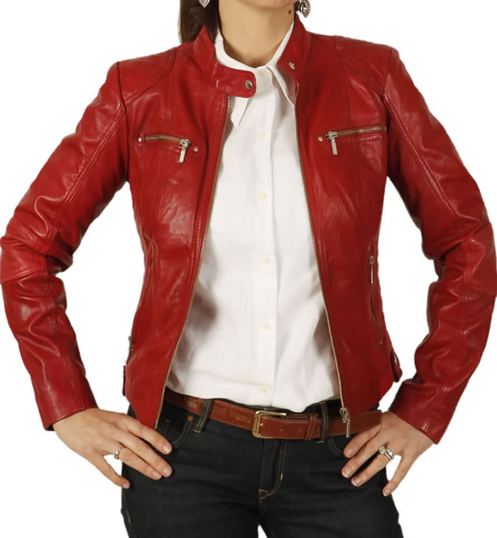 Ladies Red Leather Biker Jacket With Quilting Detail - SL118013