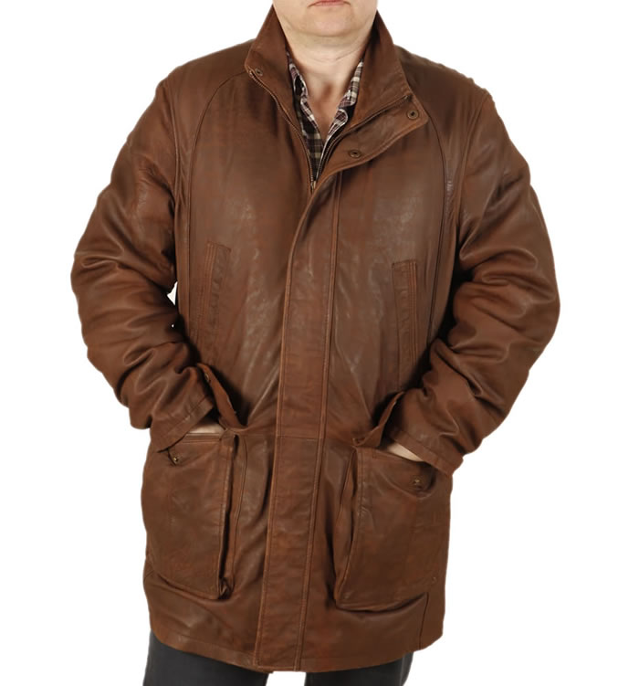 "(Special Offer) Gents 3/4 Length Rust Brown ""Buff"" Leather Coat - SL11036"